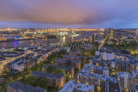 germany hamburg view to lighted city