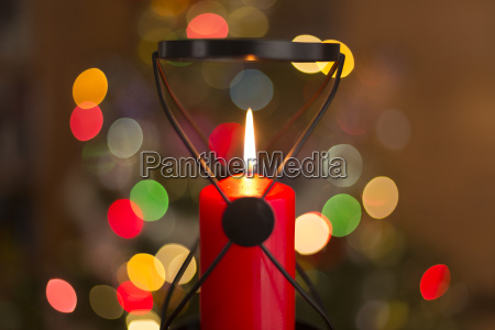 christmas decoration detail of red candle