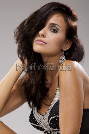 brunette young woman in lingerie portrait