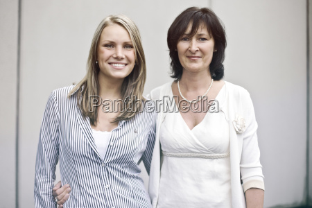 germany duesseldorf portrait of women smiling