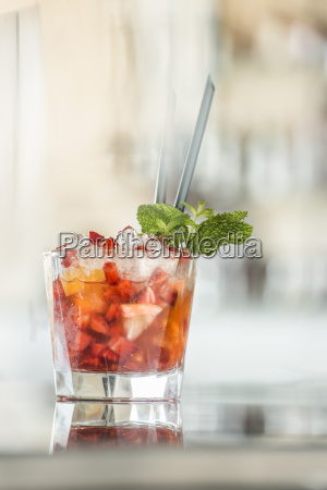 glass of strawberry daiquiri