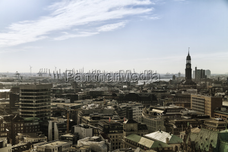germany hamburg cityscape with st michaels