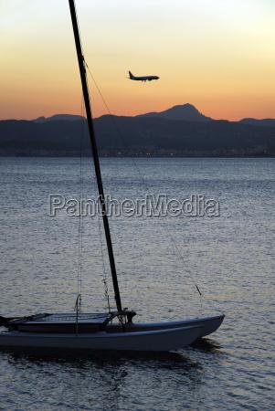 spain mallorca palma airplane landing over