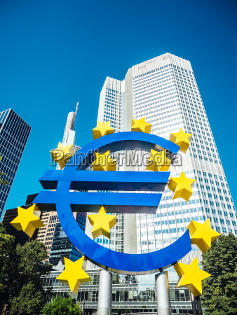 germany frankfurt euro sign in front