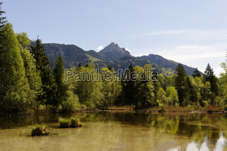 germany bavaria lake with wendelstein at