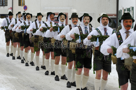 germany bavaria mittenwald traditional carnival procession