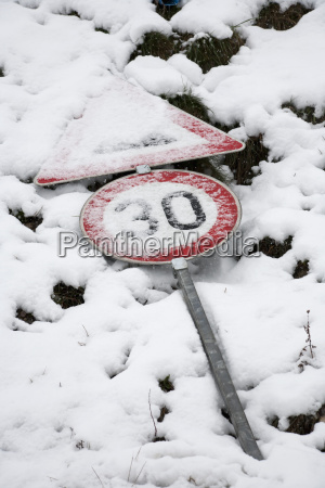 germany road sign in snow