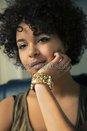 portrait of female afro american with