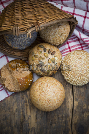 different whole meal bread rolls bread