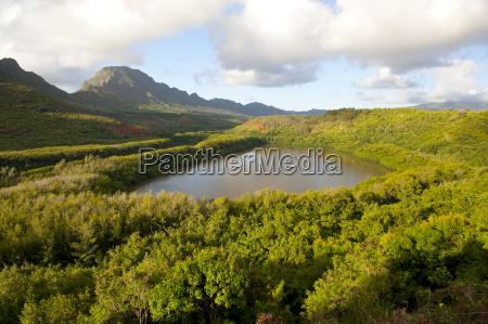 usa hawaii view of menehune fishponds