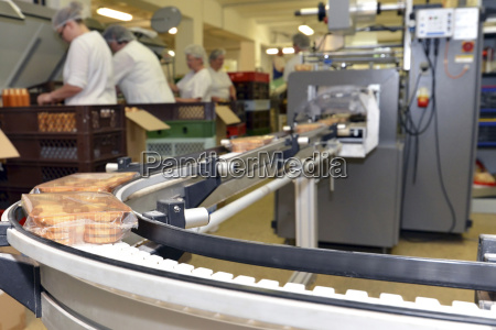 production line with cookies in a