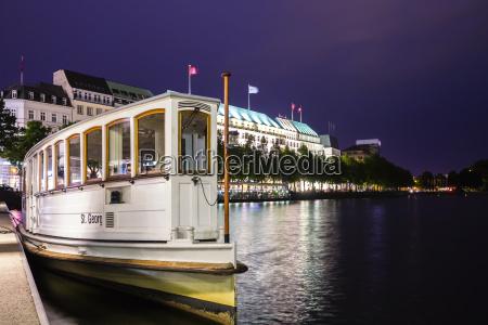 germany hamburg ferry moored on binnenalster