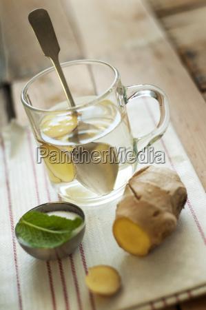 ginger tea close up