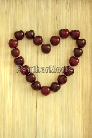 heart of cherries close up