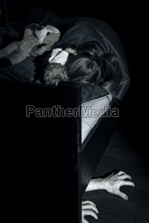 girl sleeping with hands sticking out