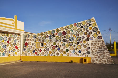 portugal algarve sagres wall with traditional