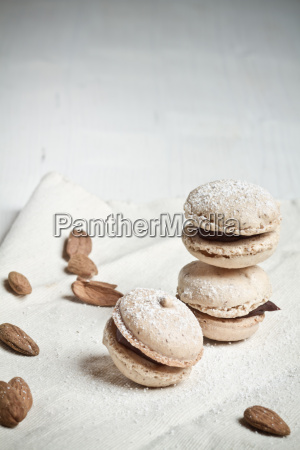 macarons filled with chocolate ganache and