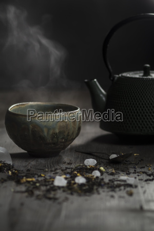 japanese tea pot and bowl with
