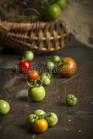 different red and green tomatoes on