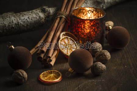 christmas decoration with tea light candle