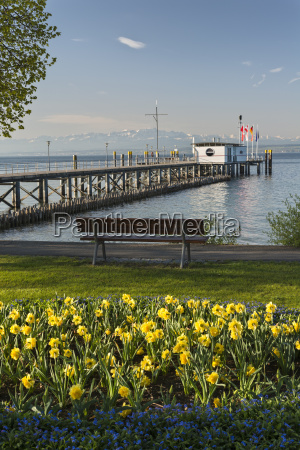 germany ferry jetty and bench at