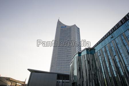 germany saxony leipzig city hochhaus and