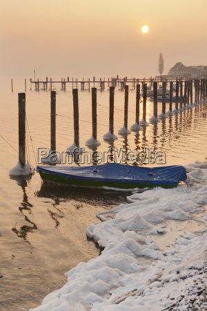 germany boat and mooring posts in