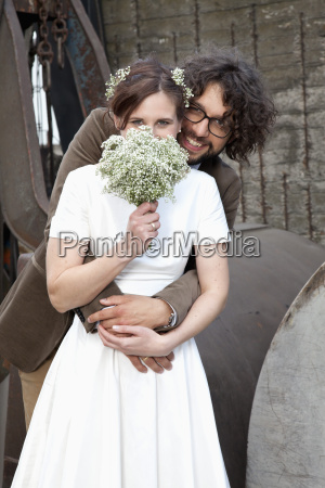portrait of happy bridal couple with