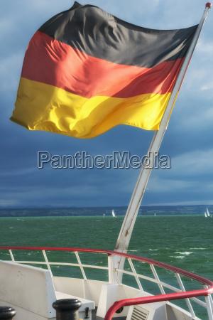 germany stuttgart german flag on ship