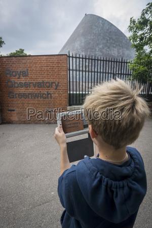 uk london boy photographing greenwich observatory