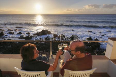 spain la gomera mature couple sitting