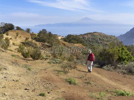 spain la gomera mature woman hiking