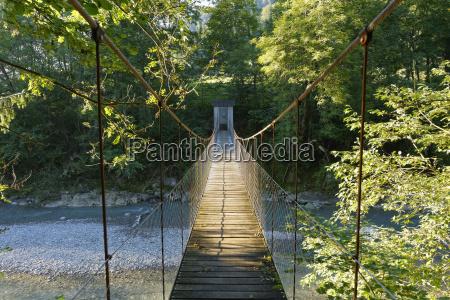 austria vorarlberg view of rope bridge