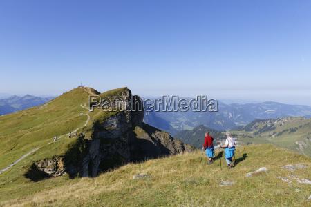 austria vorarlberg people hiking on diedamskopf