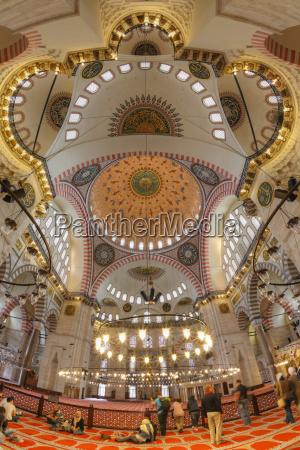 turkey istanbul interior of suleymaniye mosque