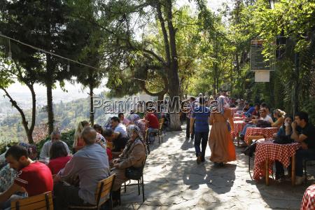 turkey istanbul people sitting at pierre