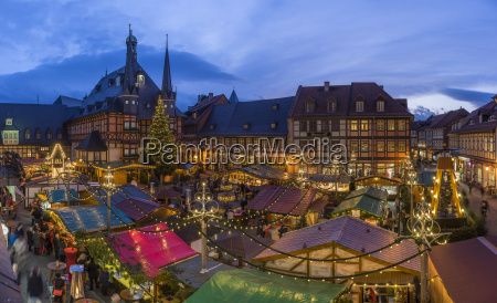 germany wernigerode view over lighted christmas
