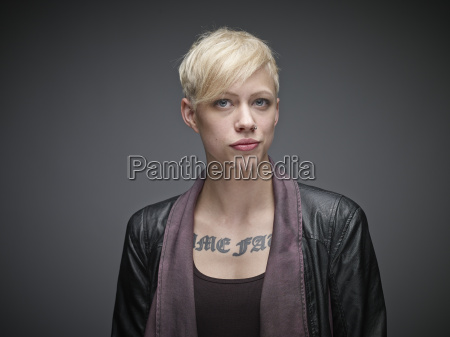 portrait of blond young woman with
