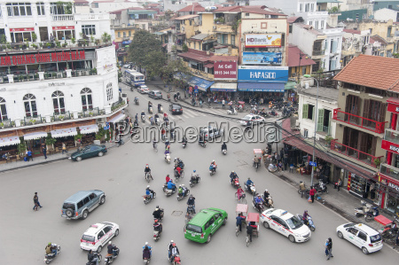 vietnam hanoi traffic at hoan kiem