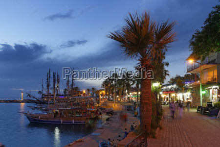 turkey side harbor and promenade at