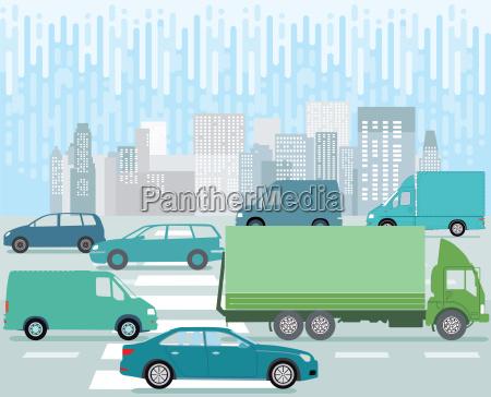 grossstadt strasse mit strassenverkehr