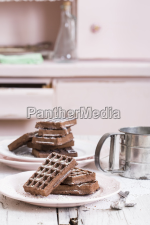 chocolate waffles on plate close up
