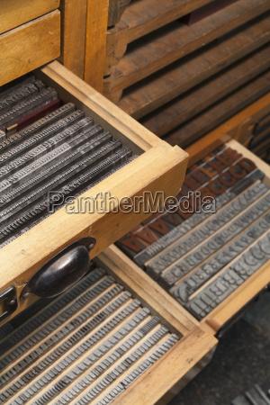 germany bavaria detail of lead typesetting