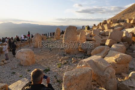 turkey anatolia mount nemrut tourists at