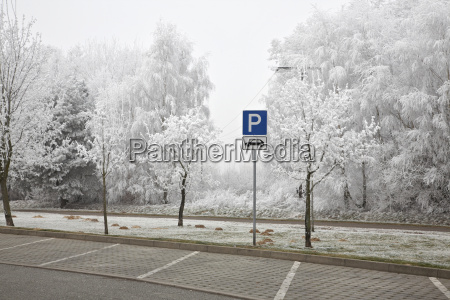 germany parking sign in parking area