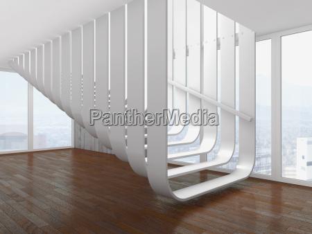 moderne weisse treppe in einem leeren