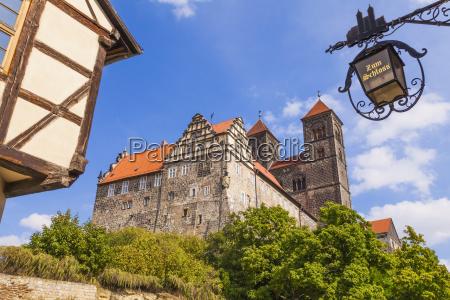 germany saxony anhalt quedlinburg castle and