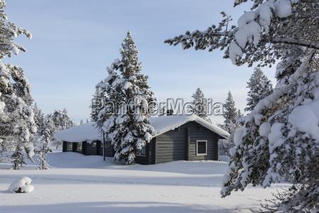 finnland near saariselka log cabin between