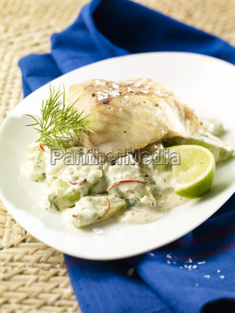 coalfish fillet with dill gherkins