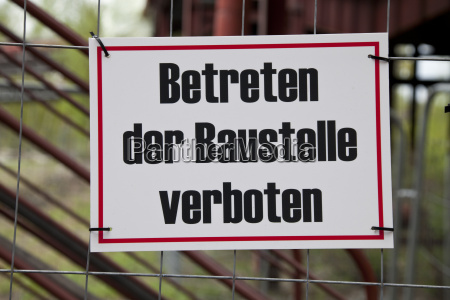 germany essen prohibition sign on fence